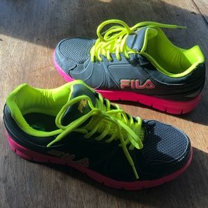 FILA bright colored sneakers WORN ONCE